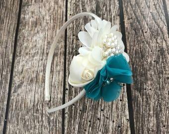 Teal headband, teal and ivory headband, vintage headband, ivory headband, ivory flower headband, flower girl, flower girl headband, teal
