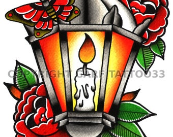 Traditional lantern tattoo art