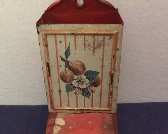 Vintage Tin Matchsafe, Red and White with Apples