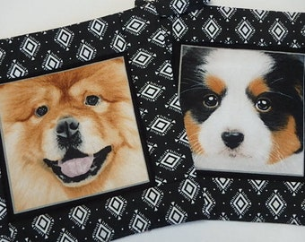 2 Dog Potholders, Quilted Fabric Hotpads Set of 2, Unique Handmade Pot holders Gift