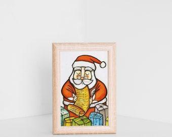 Santa Claus postcard, Christmas card, illustration on SALE, Santa Claus tiny print, Christmas postcard, Holiday card, tiny holiday print