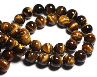 2pc - Perles de Pierre - Oeil de Tigre Boules 14mm -  4558550030276
