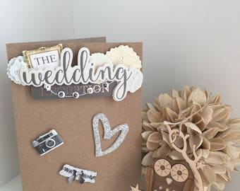 Handmade pretty silver wedding day card