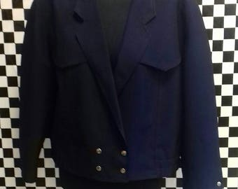 Navy blue slightly cropped jacket, made in West Germany - M/L