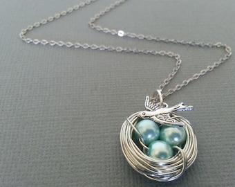 Sea Blue Pearl Bird's Nest Necklace