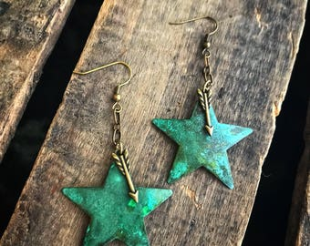 Patina Star and Brass Arrow Chain Dangle Earrings- Gift for her