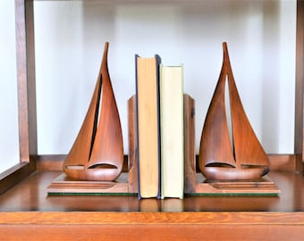 Wooden Sailboat Bookends   Teak Bookends   Mid Century Modern Sailboat Bookends   Nautical Decor   Maritime Decor   Teak Sailboat Bookend