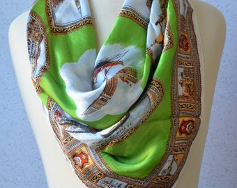 Square scarf: Souvenir, Venice, Italy, Travel, Canal, Lime Green