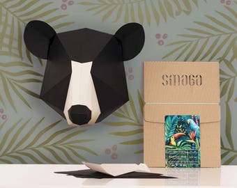 Black Bear head Papercraft KIT | Paper Puzzle | Kit for kids | DIY kit | 3D Wall art | Wall decor | Sculpture art | Trophy head | Craft kit