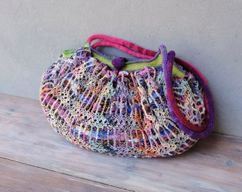 Happy Hobo Bag Knit fabric and crochet details, Multicolor Rainbow Purse