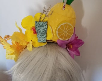 Pineapple, Pineapple headband, Tiki headband, Flower crown, Tiki crown, Tiki flower, Tiki luau, Tiki drink, Carmen Miranda