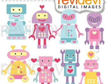 Valentine clipart sale / Lovely Robots pastel colors clip art commercial use / cute robot graphics, turquoise, pink, purple. yellow