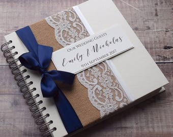 Hessian Wedding Guest Book, Personalised Guestbook, Rustic Burlap & Vintage Lace