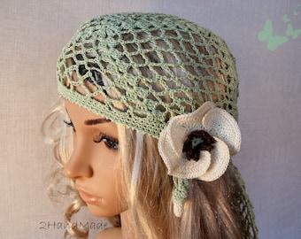 Woman Lace Crochet Vintage Style Green Headband Dreadlock Hair Snood Wrap Ponytail Kerchief Bandana Gypsy Pirate Tam Dreads Hat Summer