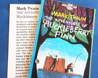 4X6 Refillable Index Card Binder | Made from The Adventures of Huckleberry Finn, Upcycled Paperback by Mark Twain | Bullet Journal, Notebook