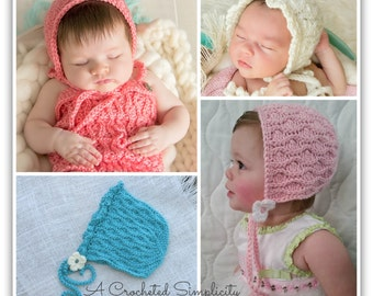"Crochet Pattern: ""Summer Waves"" Bonnet, Sizes Newborn, 0-3m, 3-6m, 6-9m, 9-12m, 12-24m"