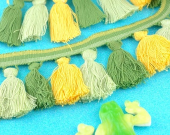 "Green Yellow Tassel Fringe, 1 Yard Handmade Cotton Tassel Trim, Designer-Quality, Interior Decorating, Craft Supplies, 2.5"" tassel trim"