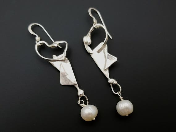 fused abstract geometric textured sterling silver and pearl drop earrings