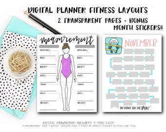 Digital Planner Pages - Fitness Duo (BONUS! 24 Month Stickers)