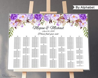 Wedding Seating Chart Template, By Alphabet, Boho Chic Wedding Table Plan, Seating Plan, Landscape, #A020, INSTANT DOWNLOAD, Editable PDF