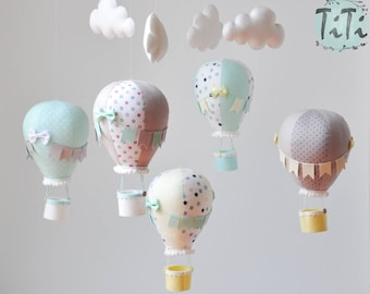 Gender Neutral personalized Hot Air Balloon Baby Mobile, Pastel mint yellow grey Mobile, Nursery Decor, Balloon Nursery, Baby Shower Gift