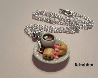 Necklace - Gourmet plate miniature-Cup and pastries