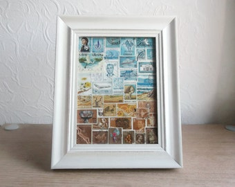 Framed Postage Stamp Art | Blue Brown Landscape, Recycled Collage | Upcycled Stamps, Snail Mail Art Gift | Eclectic Office, Boho Travel Gift