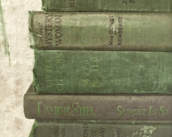 "Book Wall Art, Green Book Photography, Shabby Vintage Books, Antique Old Book Photo, Rustic Cottage Library Office Art- ""Green Gems"""