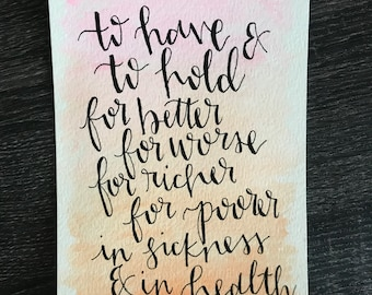Hand Lettered Wedding Vows Print