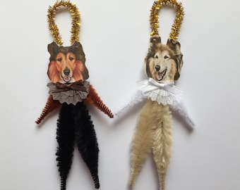 COLLIE ornaments dog ORNAMENTS vintage style chenille ornaments set of 2