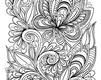 Henna Flower Coloring Page JPG