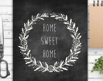 Home Sweet Home, Wall Print, Vintage Inspired, Farmhouse Style, Rustic Decor, Wall Decor