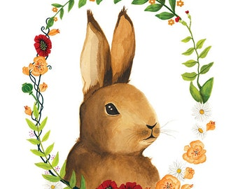 Bunny Illustration - Archival Print 8x11