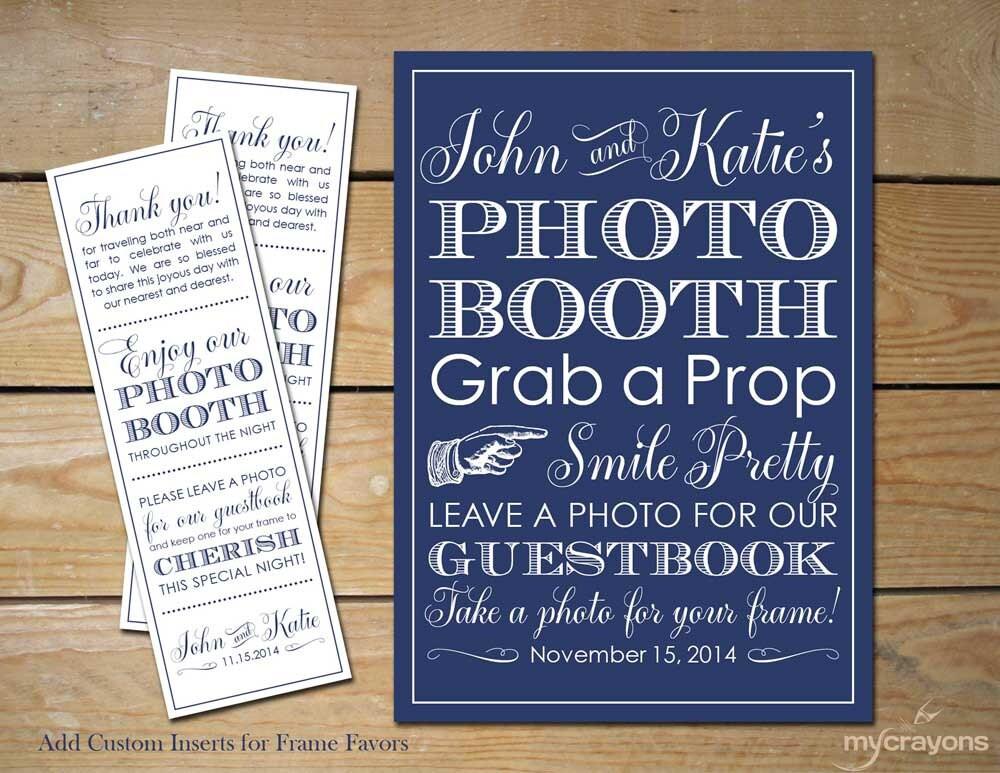 Wedding Photobooth Sign Custom Photo booth Frame Inserts //