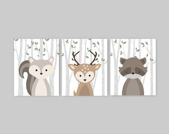 Woodland Nursery Decor Set of 3 Forest Animal Prints Baby Animal Prints Squirrel Deer Raccoon Set Baby Girl Baby Boy