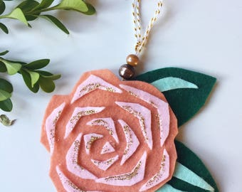 Felt Blush Rose Christmas Tree Ornament