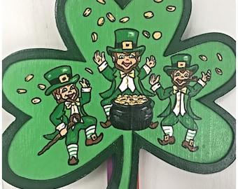 Whimsical Irish Wall Hanging. Irish Cloverleaf. Hand Painted Irish Decor. Irish Gift. St Patrick's Day Gifts. Luck of the Irish. Leprechauns