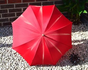 1940s Vintage Red Umbrella Vintage Cane Handled Umbrella Bamboo Handled Umbrella Vintage Parasol Ladies Umbrella