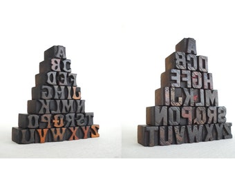 Combo Listing II - Two sets of A to Z collection - 52 Mini Letterpress Vintage Wooden Alphabets - Mini Series - VG101