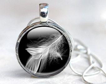 White Feather Necklace - Glass Feather Jewelry- Feather Necklace (NF13)