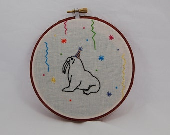 Party Walrus Embroidered Hoop Art