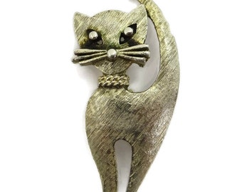 Mamselle Cat Brooch | Vintage Gold Tone Kitty Pin | Signed Mamselle Jewelry