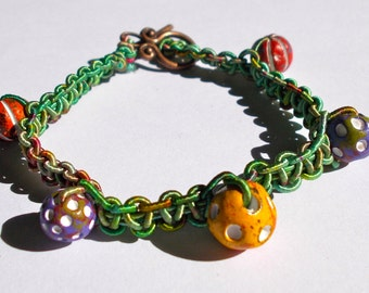 Macrame Bracelet with Indian Clay Beads and Hand dyed Multicoloured Gimp - Length 19cm approx