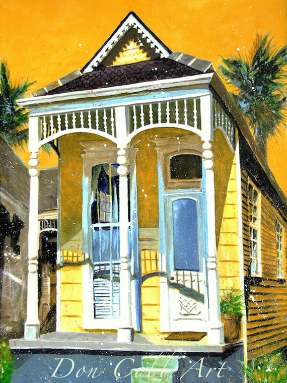 New Orleans Garden District French Quarter Shotgun House Art