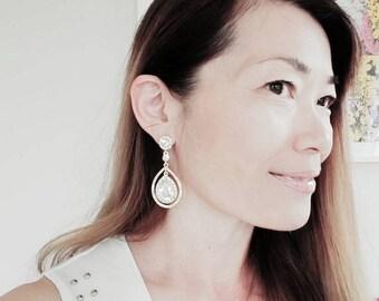 Gold Pear Drop Chandelier Earrings Teardrop Earrings Cocktail Earrings
