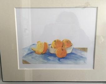 Original art prints-Oranges, Floral Still Life, Spring Garden, Tulip Patch, Teddy Bear, Duke Gardens