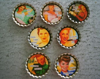 Retro Women Bottlecap Magnets, Clearance Sale Lot 7 Sassy Housewife Magnets