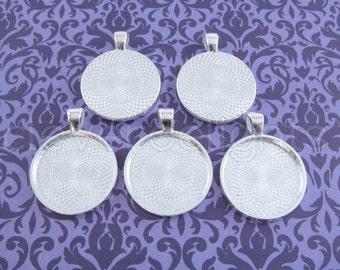 "20 - 1 Inch Round Pendant Trays - Shiny Silver - Vintage Antique Style Pendant Blanks Bezel Setting 25 mm 1"" Diameter"