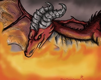Engulfed in Flames Dragon Print