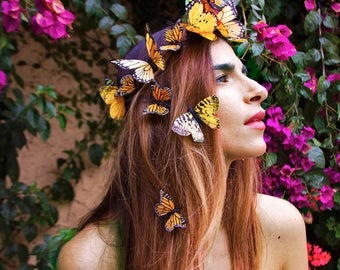 Sun Goddess Festival Butterfly Crown, Yellow Flower Crown, Festival Headpiece, Boho, Woodland Wedding, Butterfly Headdress, Headband